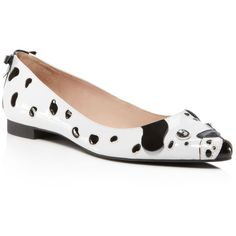kate spade new york Elena Puppy Flats (555 BRL) ❤ liked on Polyvore featuring shoes, flats, white, white flat shoes, jeweled flats, kate spade, white patent leather flats and white jeweled flats