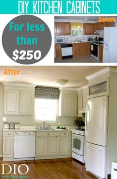 Kitchen Cabinet Makeover for less than $250 - love the color -- maybe for the upper cabinets??