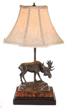 MOOSE ON ROCK LAMP