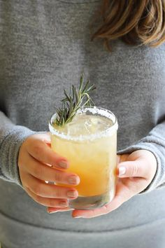 Rosemary Ginger Margaritas (agave tequila, lime juice, rosemary ginger simple syrup (coconut sugar, rosemary sprigs, water, and fresh ginger), ice, San Pellegrino or the like, and salt for rimming)