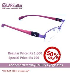EYE SHOW B079 Purple SWITCHER EYEGLASSES  http://www.glareaffair.com/eyeglasses/eye-show-b079-purple-switcher-eyeglasses.html  Brand : EYE SHOW  Regular Price: Rs1,600 Special Price: Rs799  Discount : Rs801 (50%)
