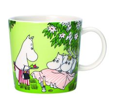 "Arabia's Relaxing mug is part of the seasonal Moomin set for summer Based on a comic book from called ""Moomin Valley Turns Jungle"", the mug's illustration features the Moomin family all set for a night of camping out in the garden. Moomin Shop, Moomin Mugs, Summer Set, Summer Days, Moomin Valley, Tove Jansson, Ceramic Tableware, Source Of Inspiration, Goods And Services"