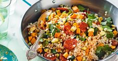 Pearl couscous with roasted pumpkin and chorizo. Add Spanish flair to weeknight meals with this pearl couscous with roasted pumpkin and chorizo recipe. It's so quick and easy to prepare, that it's guaranteed to become a dinner time staple. Pearl Couscous Recipes, Pearl Couscous Salad, Israeli Couscous Salad, Chorizo Recipes, Pasta Recipes, Salad Recipes, Cooking Recipes, Healthy Recipes, Healthy Dinners