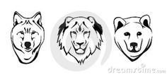 Wolf, Lion And Grizzly Bear