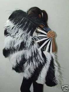 Black and White Ostrich Feather Fan