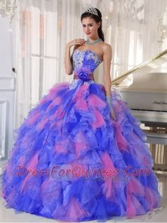 2013 Affordable Quinceanera Dress With Appliques and Flowers Organza In Multi-Colour