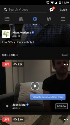 Facebook videos layout and Contextual user education. #onboarding