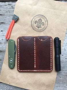 Cajun Pocket Organizer Wallet With Three Pocket Design Every Day Carry Handmade By Cajun Leather Works Proudly Made In The USA!