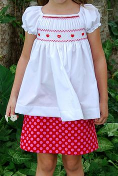 peasant top (could be a dress on a tiny girl) smocked valentine set Sewing Kids Clothes, Sewing For Kids, Baby Sewing, Diy Clothes, Smocking Plates, Smocking Patterns, Smocking Baby, Little Girl Outfits, Kids Outfits