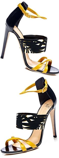 Sergio Rossi ~ Printed Leather Sandals, Black+Gold 2015 #sergiorossisandals