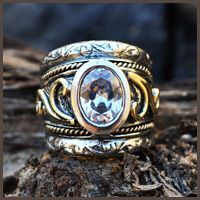 9ct and silver  artisan ring - Fia Fourie Juwele