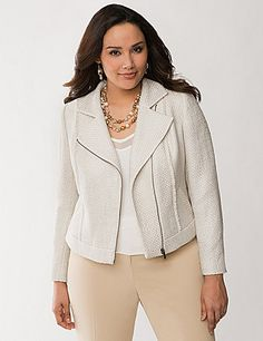 With a subtle foil gleam and fringed seams, this beautiful boucle moto jacket is sophisticated with just a hint of spice. Energetic, asymmetric cut offers a modern structure that's both flattering and versatile for dressy or casual occasions. Finished with oversized lapels, zip-front closure and zippered cuffs. Fully lined.  lanebryant.com