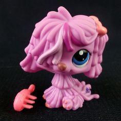 Littlest Pet Shop 1872 Komondor Dog Pink Sheepdog LPS HASBRO 2006 Blue eyes