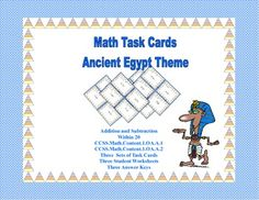 Math Task Cards- Ancient Egyptian Theme-Grades 1-2 Add Sub