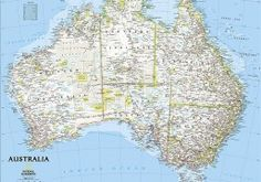 "National Geographic's wall map of Australia is one of the most authoritative maps of the ""Land Down Under."" The Classic style map uses a bright color palette featuring blue oceans and stunning shaded relief that has been a signature of National Geographic Brisbane, National Geographic Maps, Australia Map, Hello Australia, Visit Australia, 7 Continents, Wall Maps, Travel Maps, Great Barrier Reef"