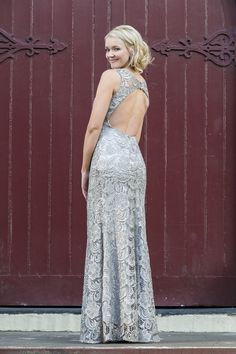 Gwen Silver Lace Keyhole Back View by Tania Olsen Designs