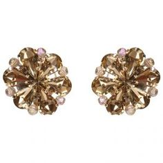 Flower Crystal Earrings in Champagne