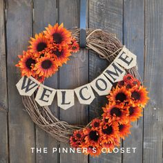 WELCOME FALL WREATH Autumn Wreath Thanksgiving by ThePinnersCloset