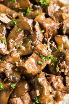 Making Beef Tips just got even easier when made in your crockpot or instant pot for fall-apart-tender and juicy steak tips with a brown gravy! Beef Tips Recipe Oven, Beef Tips Slow Cooker, Beef Tip Recipes, Crock Pot Beef Tips, Slow Cooked Beef, Cooker Recipes, Crockpot Recipes, Yummy Recipes, Dinner Recipes