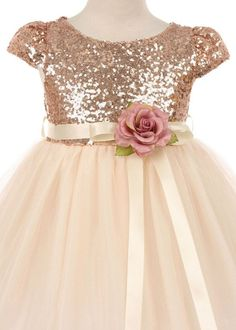 Blush Stunning Sequin Flower Girl Dress