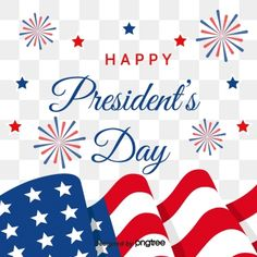 US Flag Presidents Day Flying with Fireworks Stars PNG and Vector