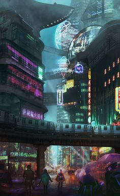 a concept art of a cyberpunk town in China  inspired by Ghost in the shell movie