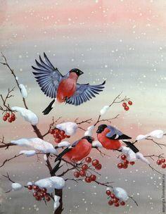 """Купить батик шарф """"Снегири"""" - роспись по ткани, Батик, шарф шелковый, свободная роспись"""