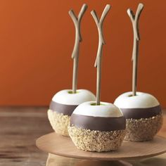 Triple Dipped S'Mores Apples recipe – Country Living~     Marshmallows, chocolate, and graham crackers meet their match in a tart Granny Smith.    Ingredients:  - 6 or up to 8, Granny Smith apples  - 2 tablespoon(s) unsalted butter  - 1 bag(s) (28-ounce) large marshmallows  - 10 ounce(s) milk chocolate chips  - 2 cup(s) crushed graham crackers