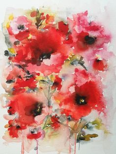 Poppies en masse VIII : Watercolor : Karin Johannesson