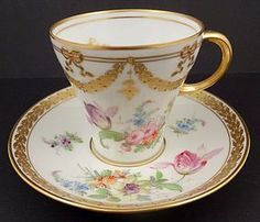 Charming Antique Donath Dresden Tea Cup & Saucer, Hand Decorated with Sprays of Flowers, Gold Beads & Gold Accents, C. 1890