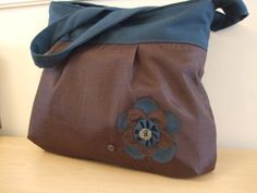 Brown Handbag with Teal Accents