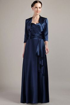 Sweetheart Classic Blue Mother Of Bride Dress - Order Link: http://www.theweddingdresses.com/sweetheart-classic-blue-mother-of-bride-dress-twdn1145.html - Embellishments: Ruched; Length: Floor Length; Fabric: Taffeta; Waist: Natural - Price: 130.82USD