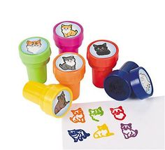 One set of 6 assorted Kitten Party Cat Stamper Party Favors. Safe and non-toxic. Kitten Party, Cat Party, Party Kit, Party Shop, Cat Birthday, 2nd Birthday Parties, Birthday Ideas, Fourth Birthday, Happy Birthday