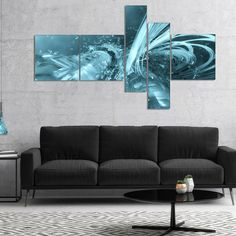 Designart 'Fractal 3D Light Collision' Abstract Canvas Art Print