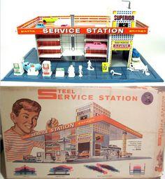 T. COHN: 1950s Steel Service Station Playset #vintage #toys