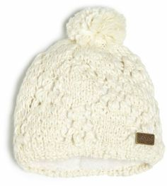 c4fa91cb Chaos Women's Palm Acrylic Hand Knit Pointelle Beanie with A Chenille  Lining (White, Unisex