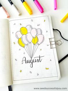 My bullet journal August monthly cover page. (bujo, bullet journal, inspiration, ideas).