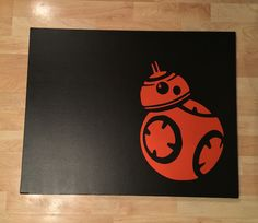 My sons BB-8 canvas art for his new Star Wars room. Painted canvas with a satin black Paint sample from Behr and purchased this BB-8 vinyl from my friends iVinyl store. https://www.facebook.com/idovinyl/