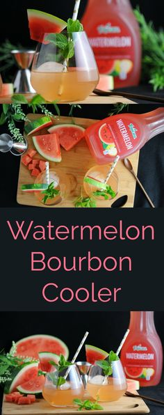 Watermelon Bourbon Coolers - #mixedwithtrop #ad watermelon, bourbon, mint simple syrup #cocktail #watermelon #bourbon #mint