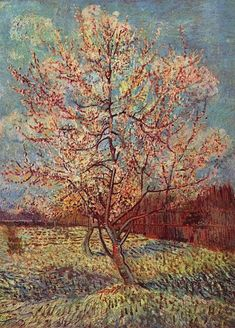 Pink Peach Tree in Blossom (Reminiscence of Mauve), watercolour, March 1888. Kröller-Müller Museum