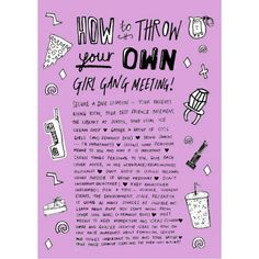 How To Throw Your Own Girl Gang Meeting!! Detail here –> http://www.katenash.com/how-to-throw-your-own-girl-gang-meeting/
