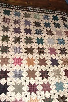"""Handmade SHOOTING STAR and FLYING GEESE QUILT, rustic, 88"""" x 102"""", bedding"""