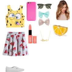 Без названия #18 by veronikimiki on Polyvore featuring polyvore, мода, style, Vans, Nila Anthony, Minnie Grace, Ray-Ban, Kate Spade, Wet Seal and NYX