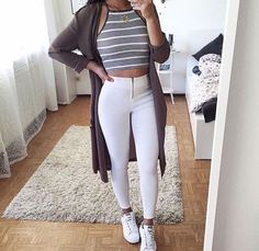 teen-fall-winter-fashion-outfit-ideas-for-school-jeans-yeezy-sneakers-striped-crop-top-cardigan Top-Outfits 65 Cute Fall Outfits for School You NEED TO WEAR NOW - Damn You Look Good Daily Winter Mode Outfits, Cute Fall Outfits, Casual Outfits, Summer Outfits, Grunge Outfits, Summer Dresses, Casual Ootd, Summertime Outfits, Fashion Mode