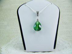 Emerald Necklace Celtic Knot Bail Emerald by CreatedinTheWoods, $24.95