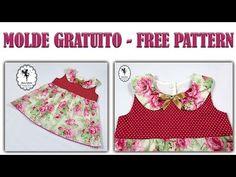 Vestido com Gola Boneca   Molde Gratuito 3, 12 e 24 meses - YouTube