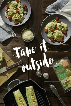 While exploring recipes that are out-of-the-box, why not enjoy them outside of your home? Serving freshly grilled veggies with our Roasted Corn Parmesan & Black Pepper Ravioli gives you the perfect excuse.