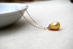 dor... gold pearl necklace / golden pearl teardrop & 14k gold filled necklace / june birthstone / golden egg
