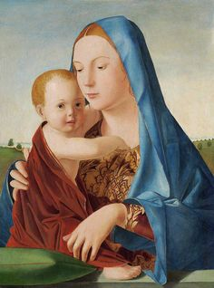 Madonna and Child (Madonna Benson) - Antonello da Messina. 58 x 40 cm. National Gallery of Art, Washington DC, USA. Messina, Renaissance Kunst, Renaissance Paintings, Religious Paintings, Religious Art, Italian Painters, Italian Artist, Jesus Christus, National Gallery Of Art