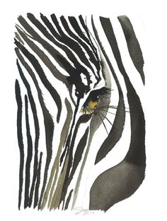 Zebra Eye print from original watercolor от JessicaIllustration